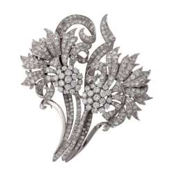 Large flower brooch with numerous diamonds