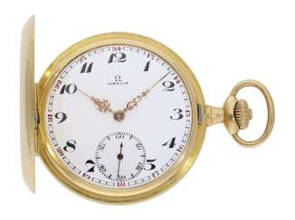 Pocket watch: gold savonnette of Omega, CA. 1912