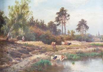 Cows by the pond
