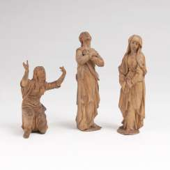 Three figures from a crucifixion group