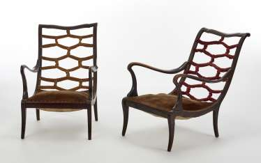 Pair of Novecento manner armchairs