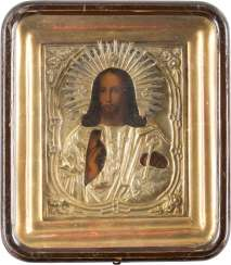 A SMALL ICON OF CHRIST PANTOCRATOR WITH OKLAD IN THE ICON CASE