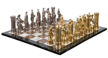 Large, magnificent silver-chess game.