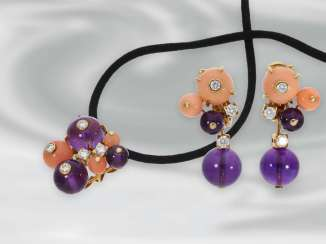 Chain/necklace/pendant/earrings: fine, high quality vintage pendant with coral, Amethyst and brilliant-cut diamonds, matching earrings, signed Cartier