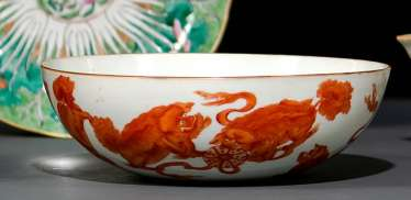 Bowl with Buddhist lion and bright blue glazed porcelain bowl