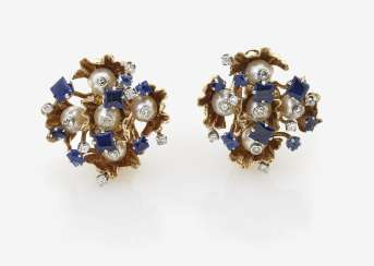 A Pair of ear clips with sapphires, diamonds and pearls