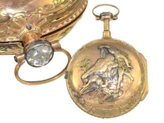 Pocket watch: unusual, multi-colored Spindeluhr with high quality diamonds, Romilly, Paris, around 1770