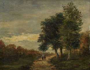 Peasant woman with child on a path at the edge of the forest