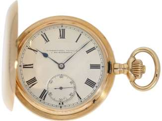 Pocket watch: interesting 14K gold savonnette of the IWC brand with the double signature, of J. Rauschenbach and C. Wehrle, 1903