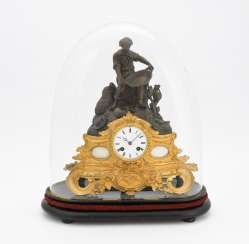 Mantel clock with glass globe