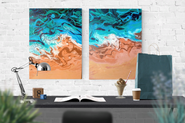 Sea wave abstract fluid art. Diptych.