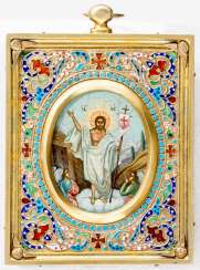 Small fine icon of the resurrection of Jesus with Silberoklad and Cloisonné enamel