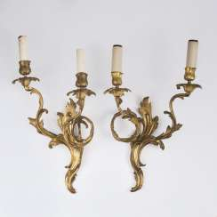 Pair of gold-plated appliques in Baroque style