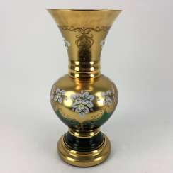 Large Vase, green glass, and Gold flashed.