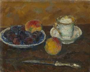 SOROKIN, IVAN (1922-2004) Still Life with Peaches , signed and dated 1975, also further signed, titled in Cyrillic and dated on the reverse.