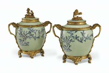 A PAIR OF LOUIS XV ORMOLU-MOUNTED CHINESE CELADON VASES WITH...