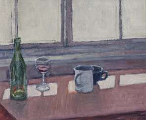 Reiner Wagner, still life with wine glass, bottle and coffee cups. 1989
