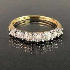Ladies Ring / half eternity Ring: yellow gold and white gold 585, total 0.75 carats, very good.