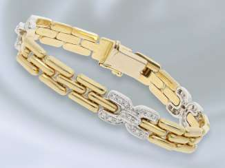 Bracelet: decorative, gold bracelet with diamonds, approximately 0.3 ct