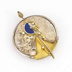 Designer pendant/brooch with Lapis and cubic zirconias