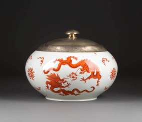 LARGE LID TERRINE 'RED DRAGON' WITH SILVER MOUNTS