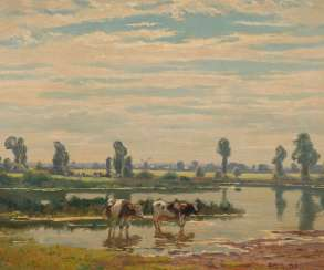 BELL, Arthur: Wide landscape with cows