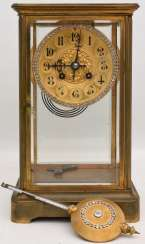 JAPY FRÈRES: pendulum CLOCK, brass/glass, France at the end of 18. Century