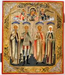 Very rare and finely painted icon of the veneration of the mother of God of Kazan and the saints Anatolios, Andreas Stratelates, Martyr Victor and the Martyr Serafima