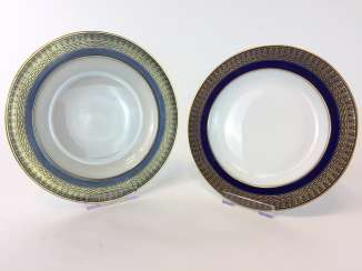 Two soup plates: Meissen porcelain, T-Smooth, Flag-cobalt blue, gold edge, around 1900, very good.