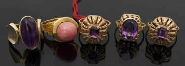 COLLECTION OF 5 gold rings, Amethyst/rose quartz, 585 Gold.