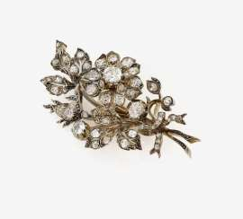 Brooch in the Form of a flower branch, set with diamonds. Germany, around 1890