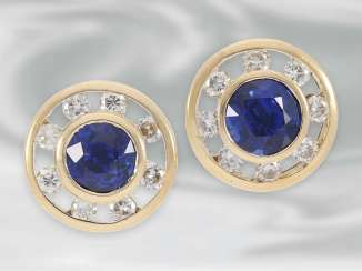 Earrings: attractive modern sapphire stud earrings with brilliant-cut diamonds, total approx. 1,88 ct, 14K yellow gold