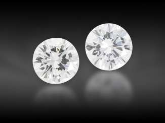 Brilliant: very nice pair of half carats, together approx. 1.14ct, from the liquidation of the court jeweler Roesner