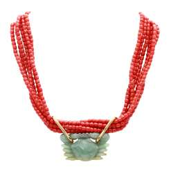 Six-row precious coral necklace with jade pendant