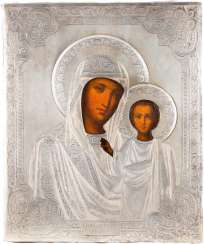 ICON OF THE MOTHER OF GOD OF KAZAN (KAZANSKAYA) WITH SILVER OKLAD