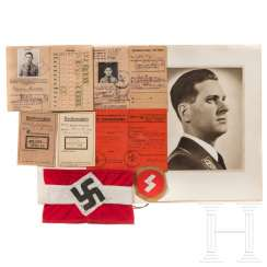 Estate of a Hitler Youth leader in the Dentlein Ansbach area, Franconia with a driver's license and armband