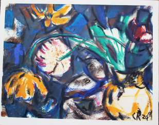 Christian Rohlfs(1849-1938)-graphic, flowers, on paper signed in the stone