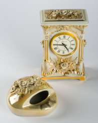 PORCELAIN TABLE CLOCK AND ASHTRAY