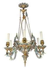 A FRENCH ORMOLU AND CHAMPLEVE ENAMEL SIX-LIGHT CHANDELIER
