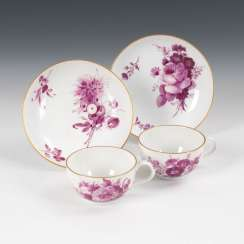 2 cups with purple painting, MEISSEN.