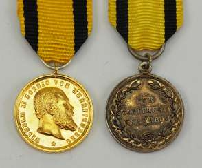 Württemberg: military merit medal, Wilhlem II, Gold and silver miniature.