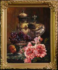 Still life with cups and flowers