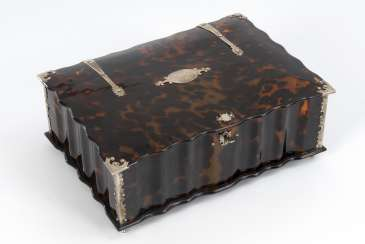 Large tortoiseshell casket fittings with silver plated