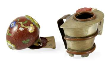 Two Cloisonné Bird Feeders