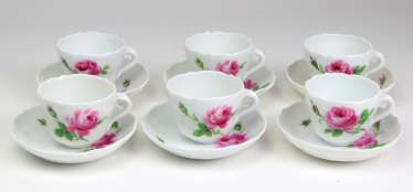 Meissen 6 Mocha Tableware *Red Rose*