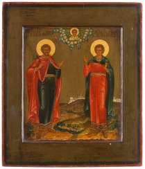 ICON WITH THE HOLY FLORUS AND LAURUS Russia