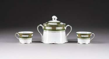 LID-SUGAR BOWL AND TWO CUPS
