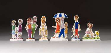 JAMES RIZZI (DESIGN) 1950 New York - 2011 ibid set OF SIX POP ART porcelain figurines. Each Goebel, Artis Orbis, 21. Century
