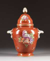 LARGE LIDDED VASE WITH FLOWER PAINTING