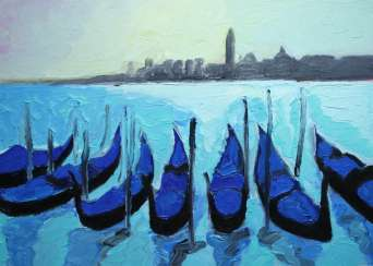 Venice Original oil painting Finger painting 2019 Home wall decor Canvas Art. New. Without frame. 25x35cm